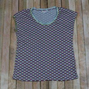 Boden Cap Sleeve Tee Shirt Foral Scoop Neck